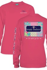 Simply Southern LS-PATCHWORK-STRAWBERRY-SMALL Long Sleeve Tee by Simply Southern