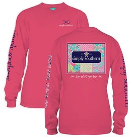 Simply Southern LS-PATCHWORK-STRAWBERRY-LARGE Long Sleeve Tee by Simply Southern
