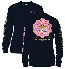 Simply Southern LS-STAR-NAVY-MEDIUM Long Sleeve Tee by Simply Southern