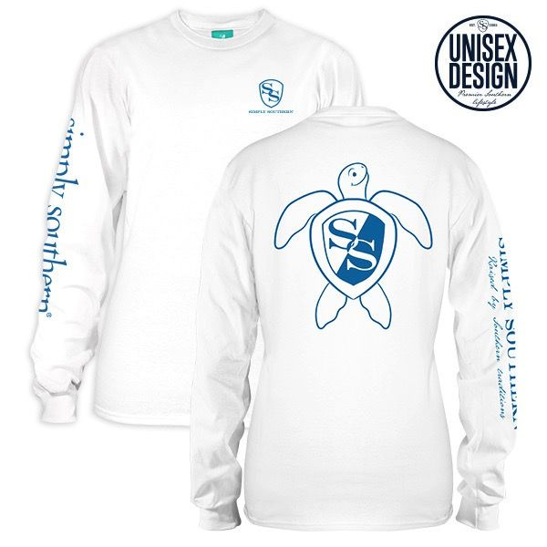 Simply Southern LS-UNISEX-LOGO-WHITE-MEDIUM Long Sleeve Tee by Simply Southern