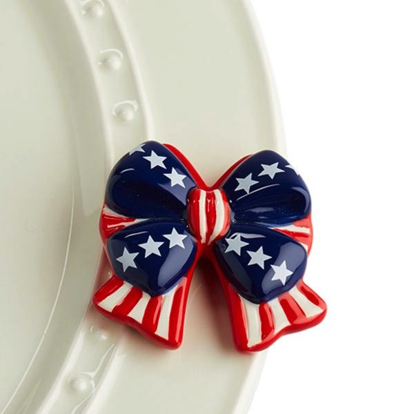 Nora Fleming A192 independence bow (red, white, blue bow) Minis by Nora Fleming