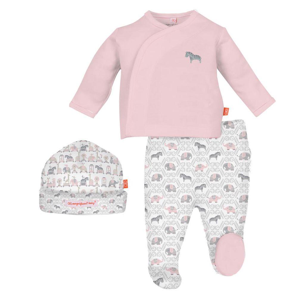 magnificent baby Pink Darjeeling Kimono 3 Piece Set