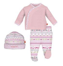 magnificent baby Girls Fair Isle Kimono, Pant + Hat Set