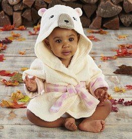 Baby Aspen Beary Bundled Cream And Pink Hooded Robe