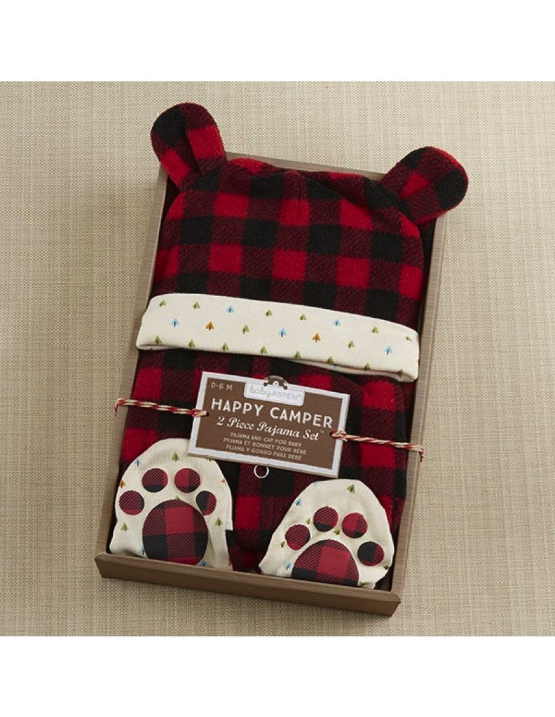 Baby Aspen Red Plaid Fleece Pajama Gift Set