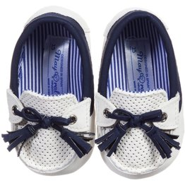 MAYORAL White and Blue Pre- Walker  Moccasins