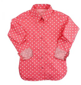 RUFFLE BUTTS Ruffle Butts  Coral Polka Dot Button Down