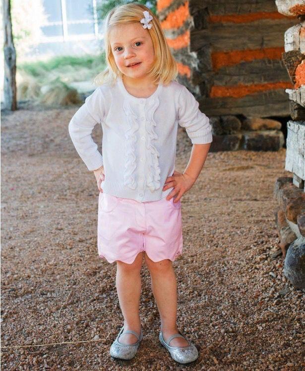 RUFFLE BUTTS Ruffle Butts  Pink Sateen Scallop Shorts