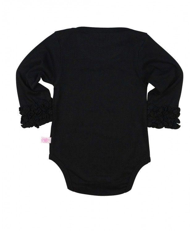 RUFFLE BUTTS Black Layering Bodysuit