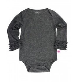 RUFFLE BUTTS Charcoal Layering Bodysuit