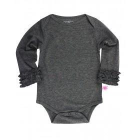 RUFFLE BUTTS Charcoal Layering Bodysuit
