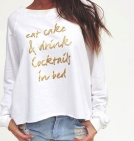 Jackie Z Fleece Golden Eat Cake Pullover Sweatshirt