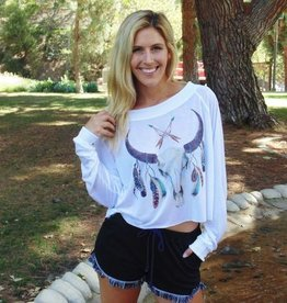 Jackie Z Feather Skull Tee Shirt
