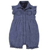 magnificent baby Magnetic Chambray Polo Romper