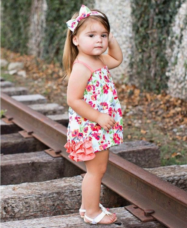 RUFFLE BUTTS Ruffle Butts Painted Flowers Rouched Bubble Romper