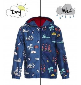 Holly & Beau Navy Pirates Color Changing  Raincoat
