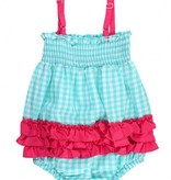 RUFFLE BUTTS Ruffle Butts Seafoam Gingham Rouched Bubble Romper