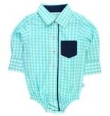 RUGGED BUTTS Ruffle Butts Seafoam Gingham Button-Up Bodysuit