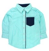 RUGGED BUTTS Seafoam Gingham Long Sleeve Button Down