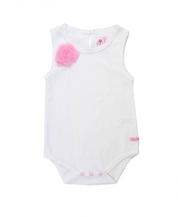RUFFLE BUTTS Ruffle Butts White w/ Pink Flower Tank Bodysuit