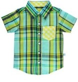 RUFFLE BUTTS Ruffle Butts Tyler Plaid Short Sleeve Button Down