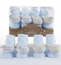 Baby Aspen Bear And Puppy Blue Rattle Socks