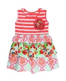 RUFFLE BUTTS Ruffle Butts Painted Flowers Stripe Mix-Print Dress
