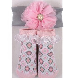 Stephan Baby Diamond Flowers Socks & Headband