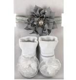 Stephan Baby Silver Pearl Socks w. Headband