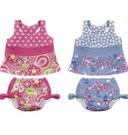 I Play I Play  2pc Bow Tankini Set w. Reusable Absorbant Swim Diaper