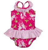 I Play I Play  Tropical 1pc Ruffle Swimsuit w. Reusable Absorbant Swim Diaper