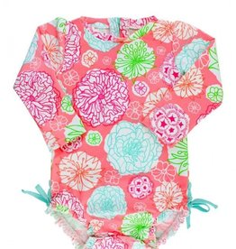 RUFFLE BUTTS Ruffle Butts Tropical Garden 1pc Rash Guard