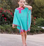 RUFFLE BUTTS Ruffle Butts Pom Pom Poncho Cover-Up