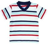 RUGGED BUTTS Rugged Butts Red Navy Strip V-Neck Tee