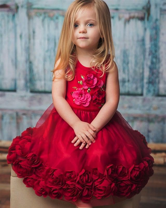 HAUTE BABY Haute Baby Ruby Sparkle Rose Dress