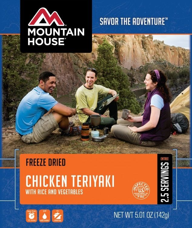 Mountain House Pouch Meals, Chicken Teriaki with Rice, 2.5 Servings, Mountain House