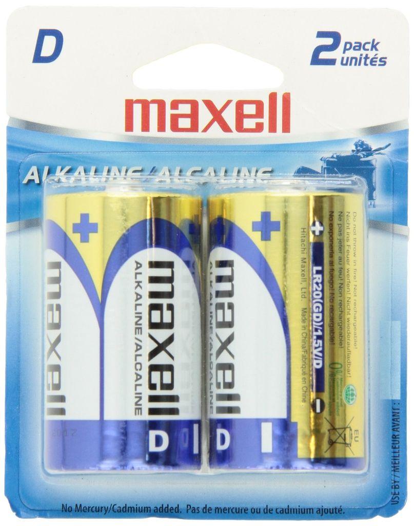 Newtek Supply Inc. Battery, Size D, Alkaline, Maxell, 2 Pack