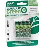 Ultralast Green Batteries, Rechargeable AAA, 4 Pack