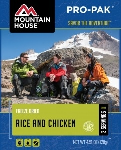 Mountain House Freeze Dried Meals, Pro-Pak Pouch, Rice and Chicken, One 16 oz. Serving, Mountain House