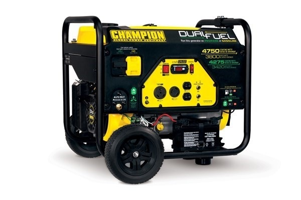 Champion Generator, 4750/3800 Watt Dual Fuel, Electric Start, 8 Wheels, Champion