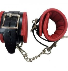 Rouge Padded Leather Wrist Cuffs in Black & Red
