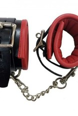 Rouge Padded Leather Ankle Cuffs in Black & Red
