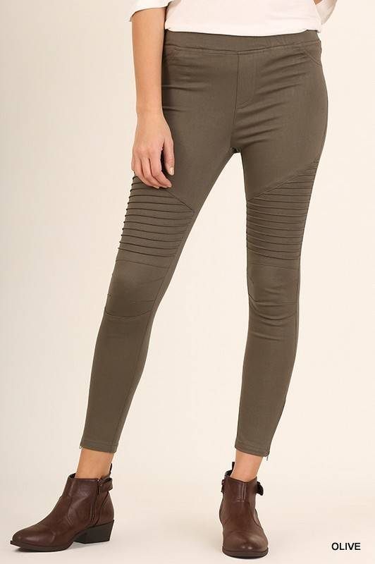 moto leggings olive. washed moto leggings - olive