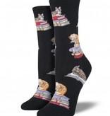 socksmith cats on books socks black