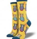 socksmith kittens in mittens socks bright yellow