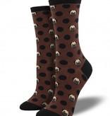 socksmith pug-ka dot socks brown socks