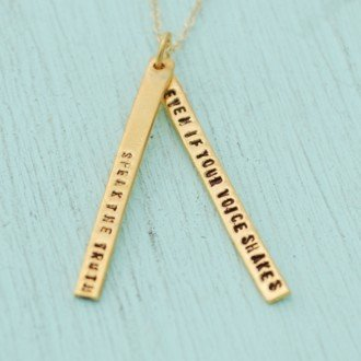 chocolate and steel chocolate and steel gold quote necklace with 2 long bars