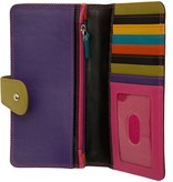 intercontinental leather (IL) multi colored wallet clutch