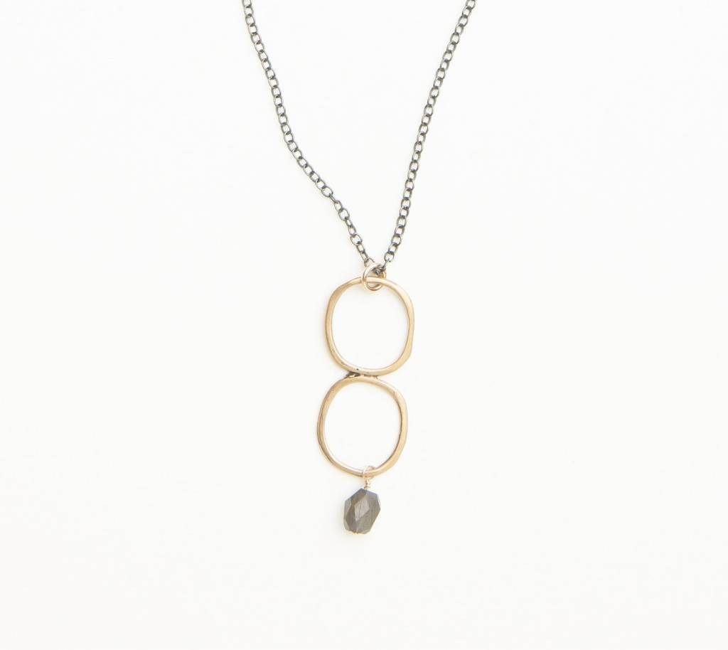 original hardware yellow bronze/labradorite mixed metal necklace
