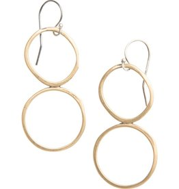 original hardware original hardware yellow bronze double circle earrings